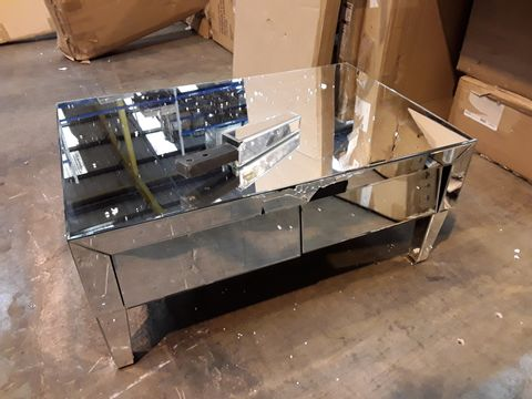 BOXED GRADE 1 MIRRORED TWO DRAWER COFFEE TABLE (1 BOX)