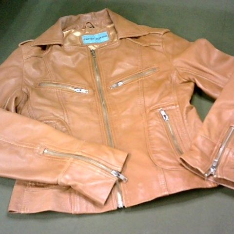 CARRIE HOXTON BROWN LEATHER JACKET - 8