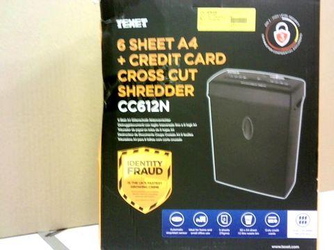 TEXET 6 SHEET A4 + CREDIT CARD CROSS CUT SHREDDER CC612N