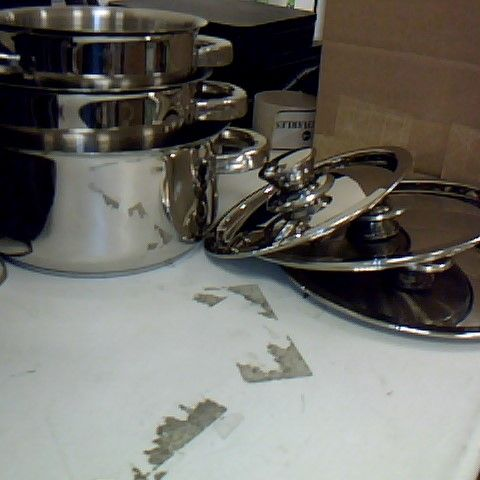 ZINEL STAINLESS STEEL CASSEROLE PAN WITH STAINLESS STEEL LID, 3 PIECE SET - 14CM, 16CM, 18CM