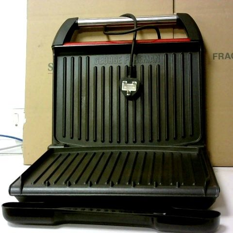 GEORGE FOREMAN STEEL HEALTH GRILL, SEVEN PORTION GRILL IN RED