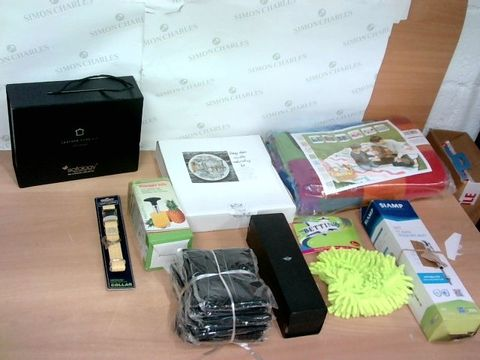 LARGE BOX OF A SIGNIFICANT QUANTITY OF ASSORTED HOUSEHOLD ITEMS TO INCLUDE SOFOLOGY FURNITURE CARE SET, HUGO & MASON COLLAR, DESIGNER MICROFIBRE MITT ETC