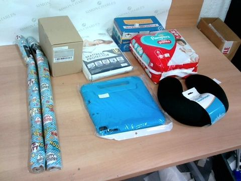 LARGE BOX OF A SIGNIFICANT QUANTITY OF ASSORTED HOUSEHOLD ITEMS TO INCLUDE DESIGNER MATTRESS PROTECTOR, PAMPERS NAPPY PANTS, DESIGNER NECK CUSHION ETC