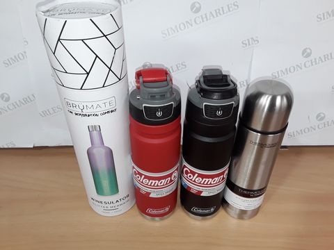 LOT OF 4 ASSORTED DRINKS CONTAINERS TO INCLUDE BRUMATE WINESULATOR AND COLEMAN 709ML FLASKS