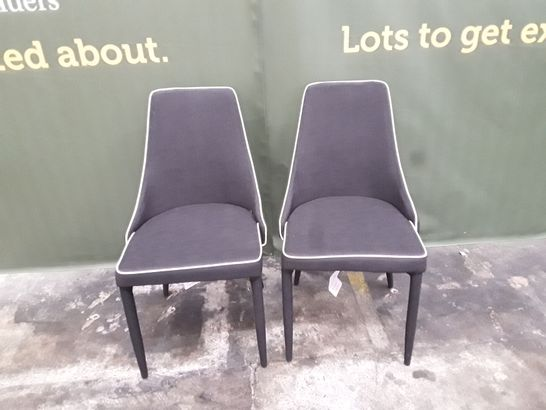 DESIGNER PAIR OF BLACK FABRIC DINING CHAIRS WITH BLACK LEGS