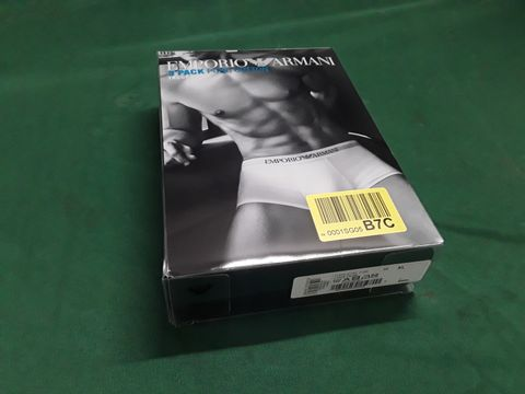 PACK OF THREE EMPORIO ARMANI PURE COTTON TRUNK UNDERPANTS SIZE XL
