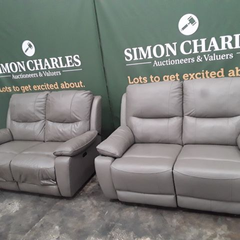 QUALITY GREY FAUX LEATHER PAIR OF TWO SEATER POWER RECLINING SOFAS