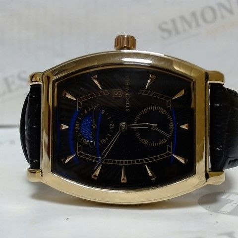 DESIGNER STOCKWELL BLACK/ROSE GOLD FACE LEATHER STRAP WRISTWATCH