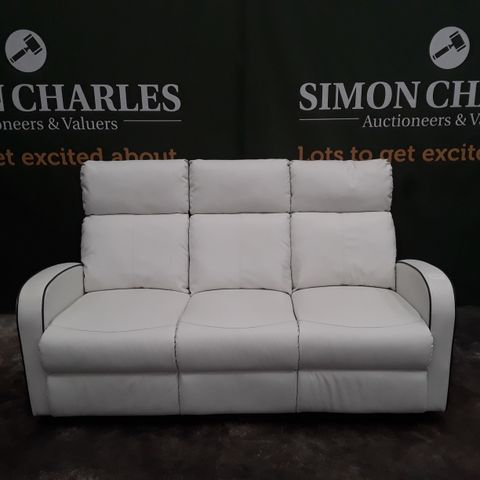 DESIGNER ASHBY WHITE FAUX LEATHER 3 SEATER MANUALLY RECLINING SOFA