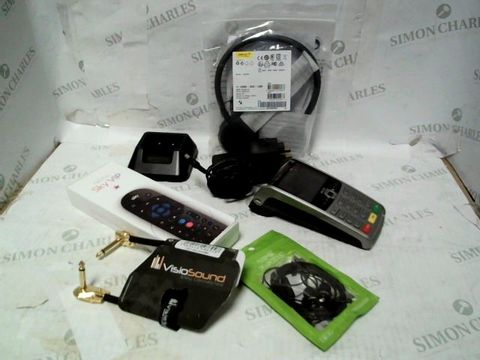 LOT OF A LARGE QUANTITY OF ASSORTED ELECTRICAL ITEMS, TO INCLUDE VISIOSOUND CABLE, JABRA HEADSET, BAOFENG CHARGER, ETC