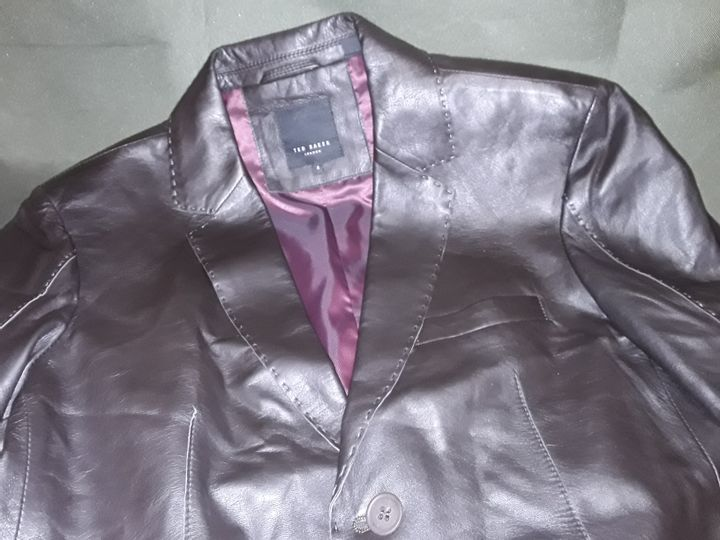 TED BAKER LEATHER LOOK JACKET IN BROWN - 4