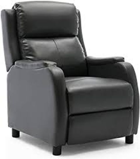 BOXED GREY FAUX LEATHER PUSHBACK RECLINER CHAIR (1 BOX)