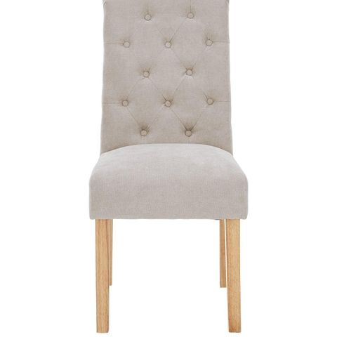 UNBOXED PAIR OF FABRIC SCROLL BACK DINING CHAIRS - NATURAL/OAK