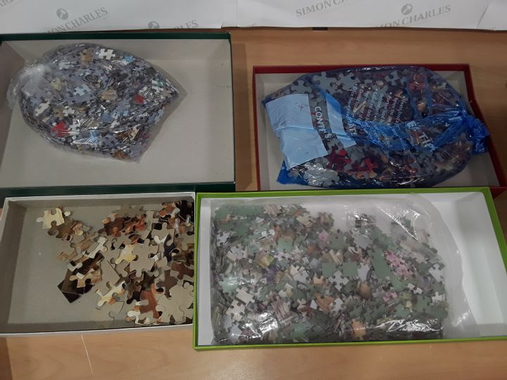 LOT OF 4 ASSORTED JIGSAW PUZZLES