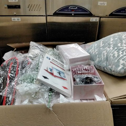 PALLET OF ASSORTED ITEMS INCLUDING VIDEO AMPLIFIER, HAIR CLIPS, ARTIFICAL FLOWER, POCKET HANDBAG HOLDER, DOG SWEATER AND CUSHION