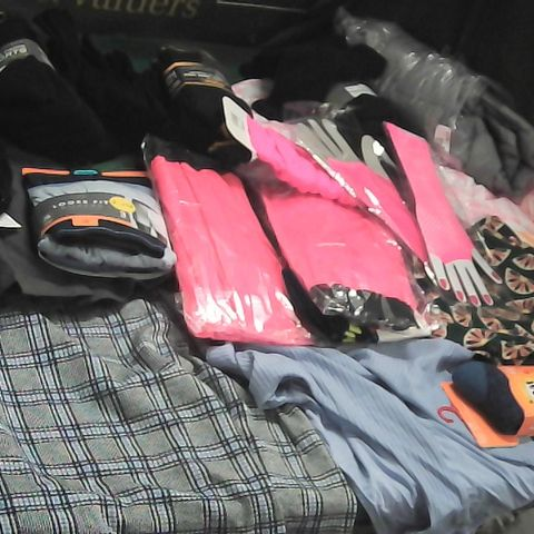 LARGE BOX OF ASSORTED ITEMS OF CLOTHING TO INCLUDE NEON PINK TUTU/GLOVES,/LEG WARMERS, SOCKS, GREY COAT
