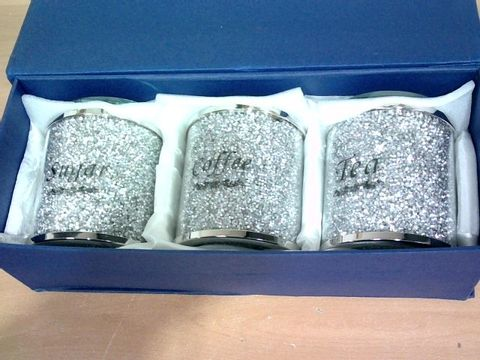 BOXED DESIGNER SPARKLE EFFECT GLASS/METAL COFFEE, TEA, SUGAR JARS