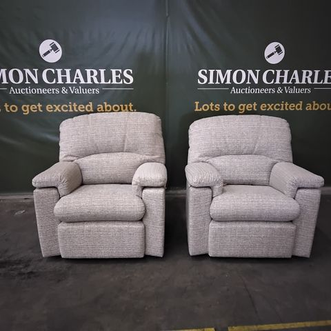 PAIR OF QUALITY G PLAN CHLOE LOOM SHALE FABRIC FIXED EASY CHAIRS