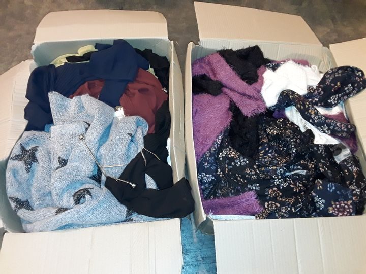 TWO BOXES OF ASSORTED CLOTHING ITEMS IN VARIOUS SIZES TO INCLUDE MUDFLOWER CARDIGAN AND NABELLA TOPS
