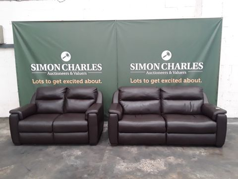 QUALITY ITALIAN BROWN LEATHER UPHOLSTERED THREE SEATER POWER RECLINING SOFA AND FIXED FRAME TWO SEATER SOFA