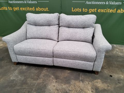 QUALITY G PLAN SUSSEX GRAPHITE DUSK FABRIC POWER/MANUAL RECLINING THREE SEATER SOFA