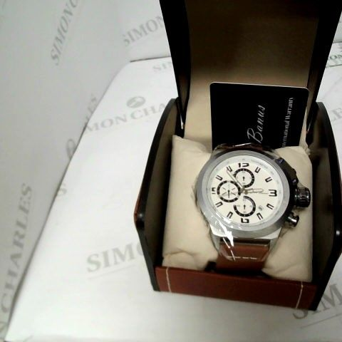 MENS LA BANUS CHRONOGRAPH WATCH - SCREW IN CROWN WITH BROWN KEATHER STRAP